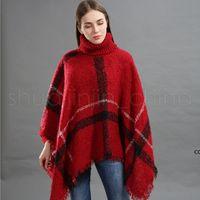 Fashion Woman Plaid Cloak Lady Grid Poncho Sweater Wraps Vintage Shawl Cardigan Tassel Knit Scarves Tartan Winter Blankets DHF11083