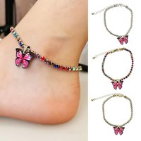 Fashion Butterfly Anklets For Women 2021 Bohemian Beach Anklet Color Chain Anklet On Leg Foot Jewelry