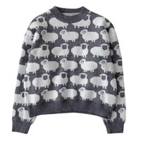 Jacquard Pullover Sweater 2020 Autumn Korean Women's Cute Sheep Pattern Long Sleeve Loose Knitted Top Pull Femme
