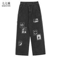 Jeans Dibujos animados Bordado Hombres Vintage Hip Hop Hop Punk Print Denim Pant Biker Streetwear Streetwear Straight Wide Pierna Pantalones 2021 Hombres