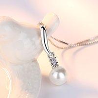 925 Sterling Silver New Ladies Moda Gioielli di moda di alta qualità Crystal Zircon Collana pendente perla Lunghezza 45cm 1192 T2