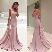Luxury Pink Mermaid Evening Dresses Sleeves Pearls Belt Dubai Saudi Arabic Formal Evening Gown Prom Dress Robe de Soiree