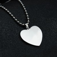 Pendant Necklaces Blank Heart Shape Stainless Steel Mirror Polish Charms Men Women With Beads Chain For DIY Engraved Keychains