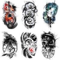 Rose Time Family Watch Schädel Temporäre Tätowierung Aufkleber Scorpion Tower Tattoos Wasserdichte Körperkunst Arm Tattoos Gefälschte Männer Tattoo
