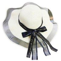 와이드 브림 모자 L5YC 세련된 밀짚 모자 패키지 태양 소프트 실크 리본 활 장식 접이식 여행 해변 동반자 UV 해를 줄이기