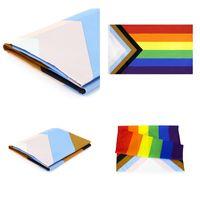 Großhandel 90 * 150 cm Dreieck Regenbogen Flaggen Banner Polyester Metall Tüllen LGBT Gay Rainbow Fortschritt Stolz Flagge Dekoration DBC BH4589 634 R2