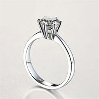luxury classic six claw torch women's diamond ring smooth surface no trace inlaid with ultra flash zircon ring, simple and