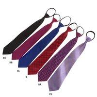 Bow Ties Mens Pre-tied Adjustable Zipper Tie Necktie Plaid Dot Business Formal Wedding