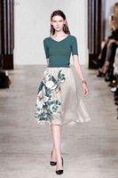 가을 2 조각 드레스 세트 여성 꽃 인쇄 스커트 및 니트 검은 녹색 풀오버 V 넥 짧은 소매 자르기 최고의 복장
