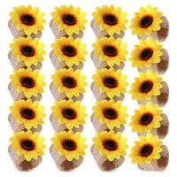 Napkin Rings 20 Pieces Sunflower Ring Holder Yellow Flower Lace Linen Buckle For Wedding Banquet Christmas Dining Table