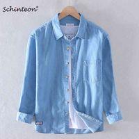 Schinteon Men 100% ударов хлопковая рубашка с длинным рукавом повседневная джинсовая удобная рубашка осень новое прибытие джинсы 210410