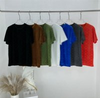 21ss Men Parted T Рубашки Emboss Письмо Luxurys Дизайнеры Flocking Ткань Одежда с короткими рукавами Мужская Тег Буквы Поло Черный Белый Синий Браун