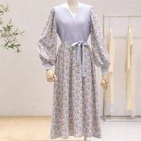 Chic Kore Giysi Tasarım Bahar Uzun Kollu Zarif Patchwork Örgü Elbise Kadın Çiçek Baskılı Vintage Elbise Vestidos 210514
