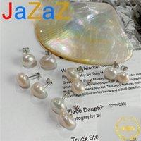 Jazaz Natural Freshwater Нерегулярные жемчужные серьги-гвоздики Настоящие 925 Стерлинговые Серебряные Игла Мода Женщины Благородный Ежедневный Износ