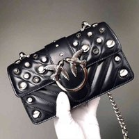 PINKO2021 new rivet pearl decoration high chain Single Shoulder Messenger Bag