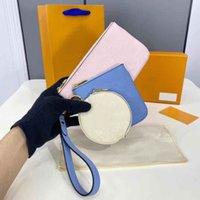 Trio Pouch Rose Pink Summer Blue Cream أكياس القابض بواسطة بركة ثلاثة الحقائب M80407 جلد البقر مصمم حقيبة يد