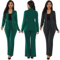 Women's Two Piece Pants Green Suits Women Pieces Set Blazer Jacket And Trousers Office Work Spring Autumn 2021 PLus Size Female Clothing