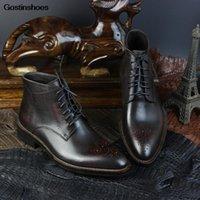 Botas Goodyear Handmade Calfskin Sola Homens Workwear Retro Preto Plus Vermelho Bota De Couro Genuine Personalizado