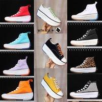 2021 Mulheres Corra Estrela Caminhada Casual Sapatos Leopard Laranja Preto Roxo Roxo Branco Alto Superior Estrelas Clássico Grosso Bottom Canvas Sapato Tamanho 36-40