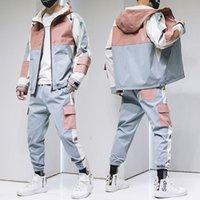 Mens Streetwear Tracksuit Set Men Harajaku Jacket + Sweatpants Man Letter Print 2 Piece Hip Hop Outfits Male Jogger Men's Tracksuits