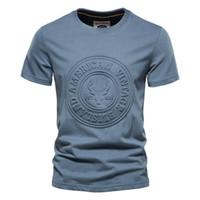 Aiopeson Baskılı T Gömlek Erkekler Rahat Katı Renk O-Boyun OP EES Yaz Yüksek Kalite Streetwear% 100 Gömlek S