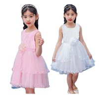 Girl's Dresses Korean Summer Girls Lovely Princess Clothes Lace Sleeveless Children Baby Casual Wear And Party Clothing For 2-10t