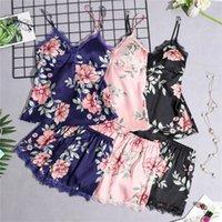 Daeyard Womens Pajamas Silk Floral Floral Print 5 шт. Pajama Set Satin Pajamas Сексуальная кружева Pijama Nightie Sleekwura Домашняя одежда