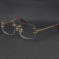 2021 Randlose Frauen Geschenk Eyewear Accessoires Mode Sonnenbrille Frames Katze Augenbrillen Große Quadratische Gläser mit Kasten C Dekoration 18k Gold Männlich und weiblich