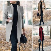 New autumn and winter 2020 solid color stand collar medium length tweed jacket