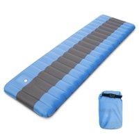 Almofadas exteriores esteira de acampamento inflável almofada de dormir com bomba de pé embutido inflando colchão de terra mochila