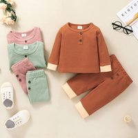 Clothing Sets 2Pcs Fashion Baby Girls Boys Clothes Set Toddler Infant Ribbed Cotton Casual Homewear Long Sleeve Tops+Pants Outfit Sleepwear
