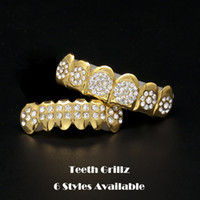 Party Props Hip Hop Bling Jewelry Bio Copper Gold Teeth Grillz Caps Top & Bottom Grills Set Tooth Socket With Full CZ ZHL2330