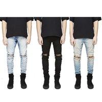 В наличии Slim Fit Разорванные джинсы Мужчины Hi-Street Мужская Чужие Джинсовые щипцы Коленые отверстия Мыть уничтоженные Плюс Размер