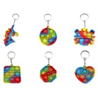 Small Stress Relief Toys Push Pop Bubble Fidget Toy Keychain Party Favor Squeeze Bubbles Heart Butterfly Sensory Decompression Reliever