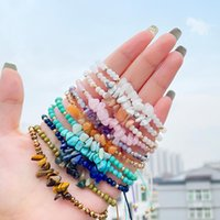 Charm Bracelets Unique Handmade Natural Stone Bracelet For Women Bohemian Colorful Irregular Gravel Beads Rope Chain Party Wedding Jewelry