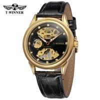 ساعات المعصم T-Winner ساعة WRG8125M3 الصين ووتش مصنع الهيكل العظمي relojes hombretransparent الذهبي حالة العلامة التجارية الرجل الفاخرة ساعات المعصم