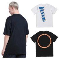 T-shirt da uomo Hip-hop Big Orange Purple Big V Stampa manica corta Mens Stylist T Shirt Friends Size S-XL Una varietà di stili e colori SCB