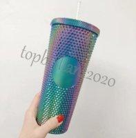 24オンスDurian Personalized Starbucks虹色の焼きレインボーユニコーンスタッドのコールドカップタンブラーのタンブラーのコーヒーマグをプラスチック藁DHL