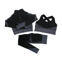 تشكيل طماق اللياقة البدنية الدعاوى اليوغا النساء ملابس 3PCS مجموعات طويلة الأكمام قميص + الرياضة الصدرية + تجريب سلس الجري ملابس رياضية ارتداء، LF051 10