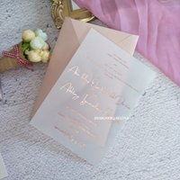 Rose Gold Foil Print Wedding Invitation With 250G Pearl Envelope Customized Printing Stamped Cards For Anniversary Bridal Shower Quinceanera Invites