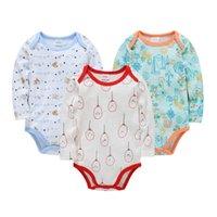 Rompers Infant Baby Boys Bodysuit Cute Cartoon 3PCS Born Girl Clothes Body Long Sleeve 100% Cotton Baby's Underwear Pajamas