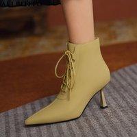 Botas allbitefo cruz atado dorado talón zapato piel de oveja piel de cuero genuino zapatos de tobillo moda sexy fiesta chicas altas mujeres
