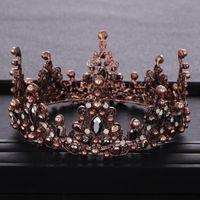 Hair Clips & Barrettes Vintage Wedding Crown Baroque Pearl Rhinestone Crystal Headband Bridal Accessories Prom Queen Bride Round