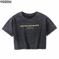 Yozou mulheres retrô letras vintage bordado verão angustiado preto o-pescoço colheita tshirt para fêmea 210722