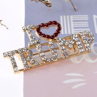 I LOVER TRUMP Rhinestone Hairpin Diamond Rubies Eglish Letter Brooch Girl's Shinny Hair Clips Clips-on Style Breastpin Presidential Election Acc G78UXUV