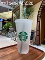 Starbucks Mermaid Goddess 24oz 710ml Plastic Mugs Tumbler Reusable Clear Black Drinking Flat Bottom Pillar Shape Lid Straw Cups Bardian 100pcs Free DHL