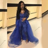 Royal Blue Jumpsuit Prom Dresses With Overskirts V Neck Long Sleeve Sequined Evening Gowns Plus Size African Pageant Pants