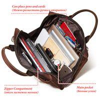 Leather Men's bag Crazy Horse briefcase business fashion Laptop Bag Shoulder men's