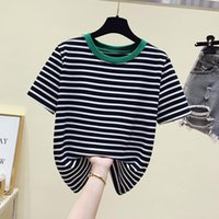 Women's Blouses & Shirts Black Striped For Shirt Women Summer T-Shirt O-Neck Short Sleeve Female Tops Casual Office Ladies Blusa