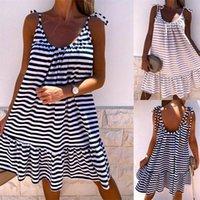 Casual Dresses Women's Striped Print Ruffles Summer Vestidos Sleeveless Lace Up Straps Slip Sexy Loose 2021 Female Mini Dress